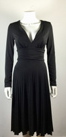 BCBG PARIS Black Pleated Long Sleeve Cocktail Dress Size X Small