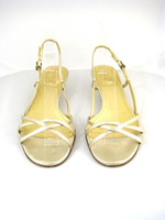 J. CREW Gold Strappy Leather Kitten Heel Sandal Size 9