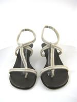 DONALD J. PLINER Silver Leather T Strap Open Toe Slide Sandal Pump Size 9.5