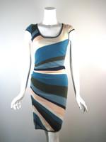 CATHERINE MALANDRINO Multi Color Cashmere Short Sleeve Sweater Dress Size Small
