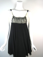LIDA BADAY Black Ivory Lace Cocktail Dress Size Small