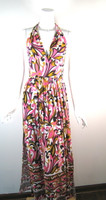 MILLY NEW YORK Pink Floral Print Halter Backless Maxi Dress Size Small
