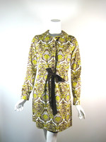 MILLY NEW YORK Yellow Floral Cotton Long Sleeve Shirt Dress Size 4