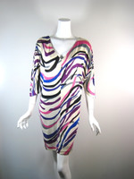 DVF DIANE VON FURSTENBERG Silk Ivory Striped 3/4 Sleeve Clara Dress Size 2