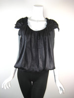 ROBERT RODRIGUEZ Black Silk Cap Sleeve Bubble Hem Blouse Size 4