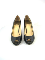 COLE HAAN Black Patent Leather Peep Toe Pump Size 6.5