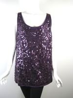 EILEEN FISHER Port Purple Sequin Round Neck Pull Over Sweater Shell Size 1X