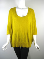 EILEEN FISHER Mustard Yellow 3/4 Sleeve Sweater Size Large