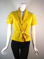 LIDA BADAY Yellow Short Sleeve Belted Jacket Size 4