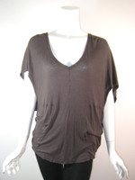 DA-NANG Brown Short Sleeve Open Back Blouse Size X Small