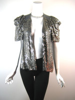 TWELFTH STREET BY CYNTHIA VINCENT Gray Sequin Short Sleeve Cardigan Size Small
