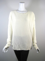 VINCE Ivory Cabled Long Sleeve Cotton Sweater Size Large