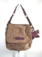 JUICY COUTURE Brown Burgundy Leather Suede Shoulder Handbag