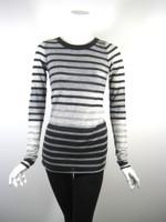ENZA COSTA Gray Black Striped Long Sleeve Tunic Sweater Size Medium