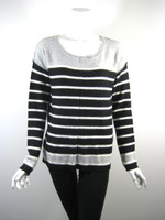 SPLENDID Gray Black Striped Wool Sweater Size Medium