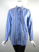 EQUIPMENT FEMME Blue Striped Button Down Blouse Size Medium