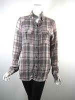 PAIGE Brown Plaid Button Down Shirt Blouse Top Size Medium