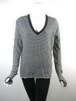 ENZA COSTA Gray Green Striped Long Sleeve Tee Shirt Top Size Medium