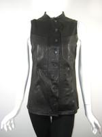 DEREK LAM 10 CROSBY Black Leather Vest Jacket Size 8
