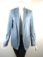 TIBI Blue Cotton Open Front Jacket Blazer Size 6