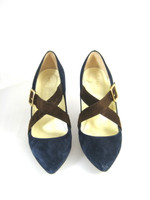 BETTYE MULLER Navy Blue Brown Criss Cross Suede Heel Pump Size 36.5