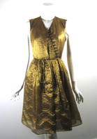 PORTS 1961 Gold Button Front Sleeveless Dress Size 6