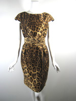 PER SE Leopard Print Silk Cap Sleeve Cocktail Dress Size 6