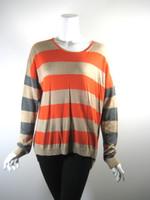 C&C CALIFORNIA Red Tan Striped Pull Over Sweater Medium