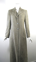 GIORGIO ARMANI Tan Plaid Full Length Wool Coat Jacket Size 38/40