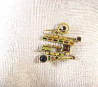 PATRICIA LOCKE Abstract Jeweled Pin Pendant Brooch