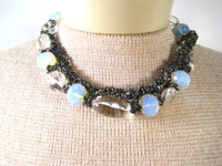 DEBORAH GASPAR Clear Iridescent Chunky Beaded Choker Necklace 18""