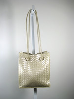 BOTTEGA VENETA Champagne Ivory Woven Leather Shoulder Bag