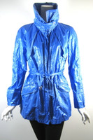 LAFAYETTE 148 NEW YORK Blue Belted Rain Jacket Coat Size Small