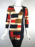 DIANE VON FURSTENBERG DVF Multi Colored Amaryllis Cardigan Sweater Size Small