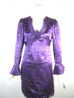 NANETTE LEPORE Purple Silk Long Bell Sleeve Cocktail Dress Size 4