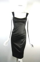 LIDA BADAY Dark Brown Satin Fitted Cocktail Dress Size 6