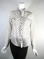 NSF White Floral Print Button Down Shirt Blouse Size P