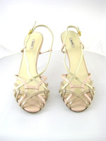 MIU MIU Ivory Taupe Patent Strappy Pump Heel Size 40