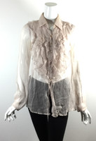 BAILEY 44 Light Gray Sheer Ruffled Long Sleeve Blouse Size 6