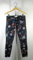 CURRENT/ELLIOTT Black Wild Flower Stiletto Skinny Leg Pant Jeans Size 25