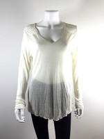 JUDE NWT Ivory V Neck Long Sleeve Sweater Size Medium $97