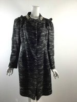 MORINE COMTE MARANT Black White Tweed Jeweled Collar Knee Length Coat Size 10