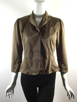 LIDA BADAY Brown 3/4 Sleeve Button Front Jacket Size 4