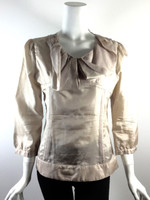 YARNIE Beige Silk Ruffled Collar 3/4 Sleeve Silk Blouse Size Medium
