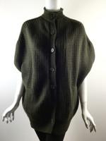 VINCE Dark Green Wool Cashmere Waffle Short Sleeve Sweater Jacket Size Medium