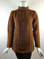 SUNDANCE Rust Brown Wool Cabled Long Sleeve Turtleneck Sweater Size Small