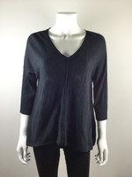 EILEEN FISHER Blue 3/4 Sleeve V Neck Linen Cotton Sweater Size Small