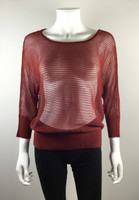EILEEN FISHER Burgundy Red Mesh 3/4 Sleeve Sweater Size Small