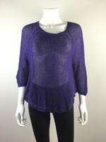 EILEEN FISHER Purple Open Knit 3/4 Sleeve Sweater Size Medium