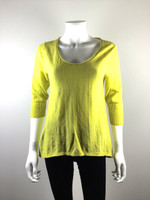 EILEEN FISHER Citron Yellow 3/4 Sleeve Sweater Size Medium